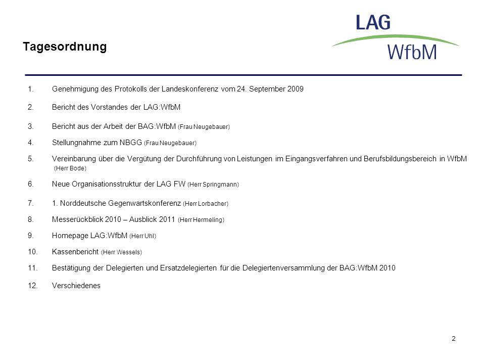 Tagesordnung Genehmigung des Protokolls der Landeskonferenz vom 24. September 2009. Bericht des Vorstandes der LAG:WfbM.