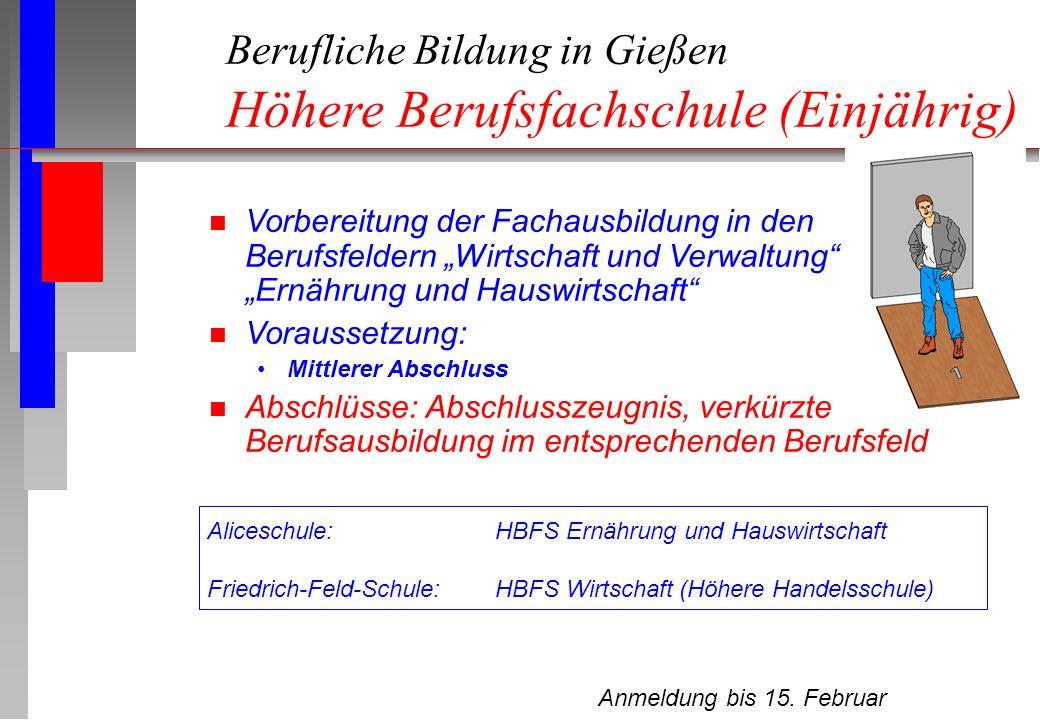 Berufliche Bildung in Gießen Höhere Berufsfachschule (Einjährig)