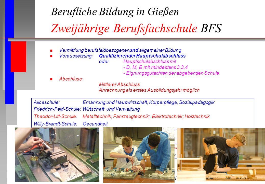 Berufliche Bildung in Gießen Zweijährige Berufsfachschule BFS