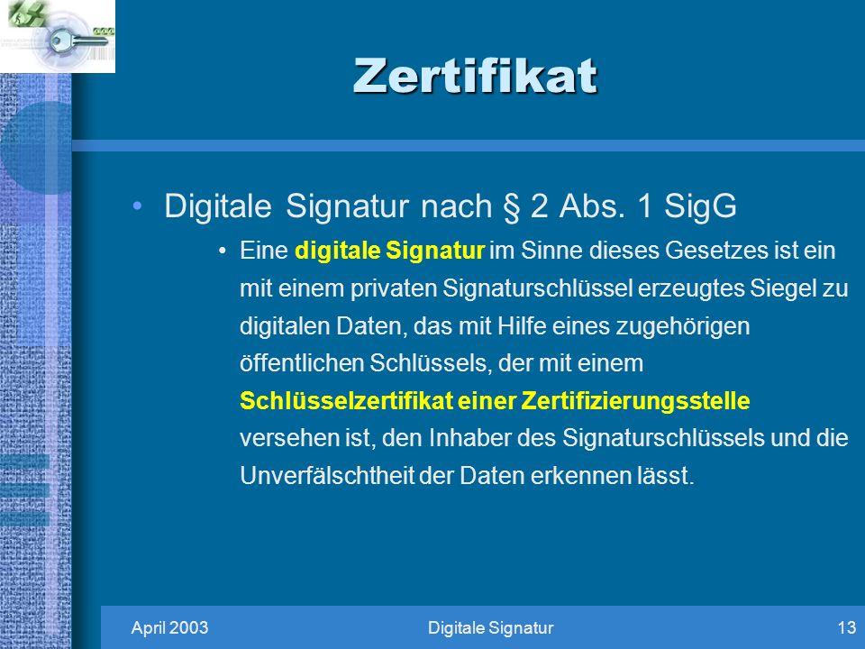Zertifikat Digitale Signatur nach § 2 Abs. 1 SigG