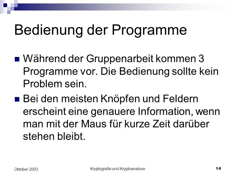 Bedienung der Programme