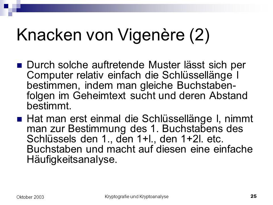 Knacken von Vigenère (2)