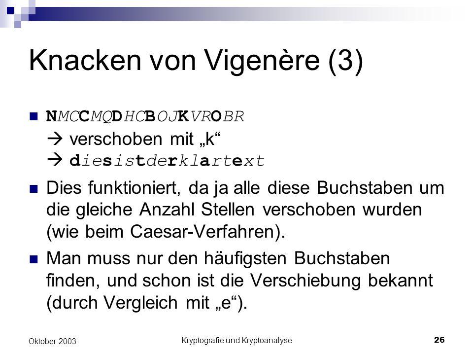 Knacken von Vigenère (3)