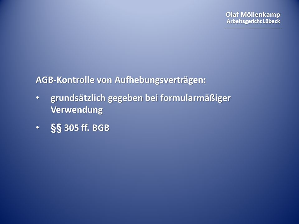 AGB-Kontrolle von Aufhebungsverträgen: