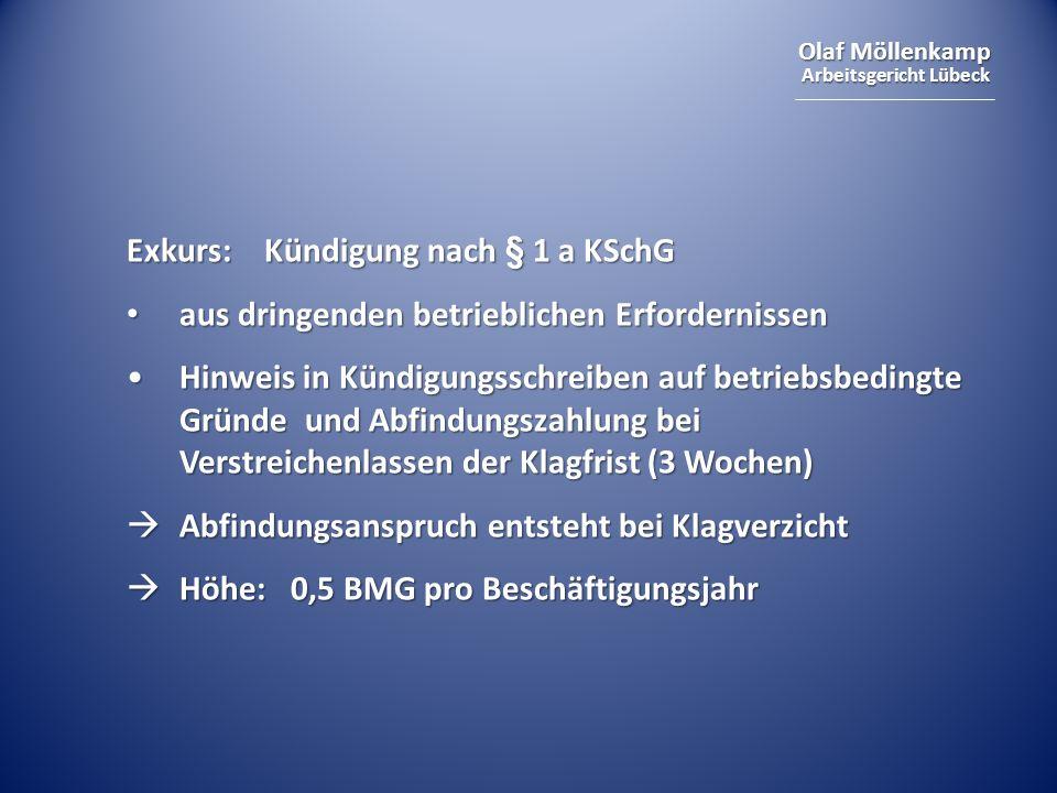 Exkurs: Kündigung nach § 1 a KSchG