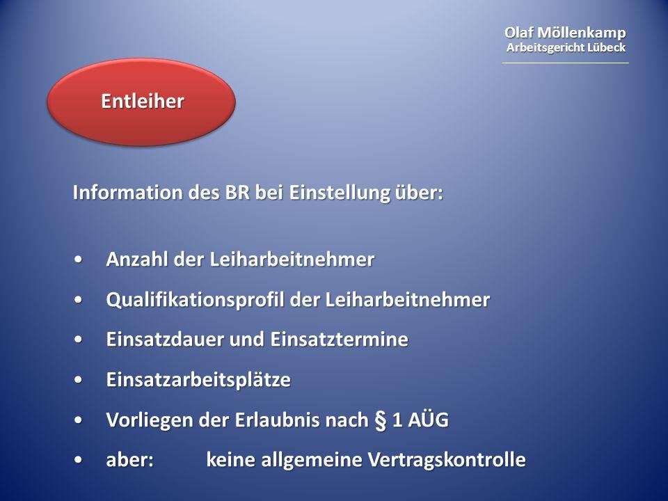 Entleiher Information des BR bei Einstellung über: Anzahl der Leiharbeitnehmer. Qualifikationsprofil der Leiharbeitnehmer.