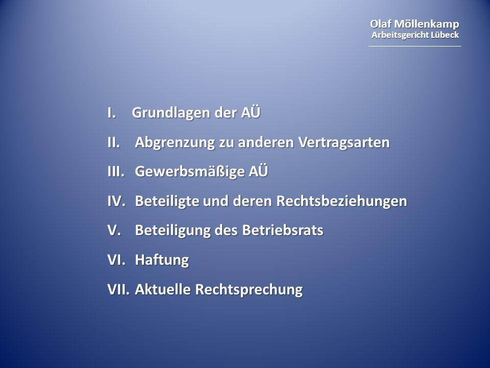 I. Grundlagen der AÜ Abgrenzung zu anderen Vertragsarten. Gewerbsmäßige AÜ. Beteiligte und deren Rechtsbeziehungen.