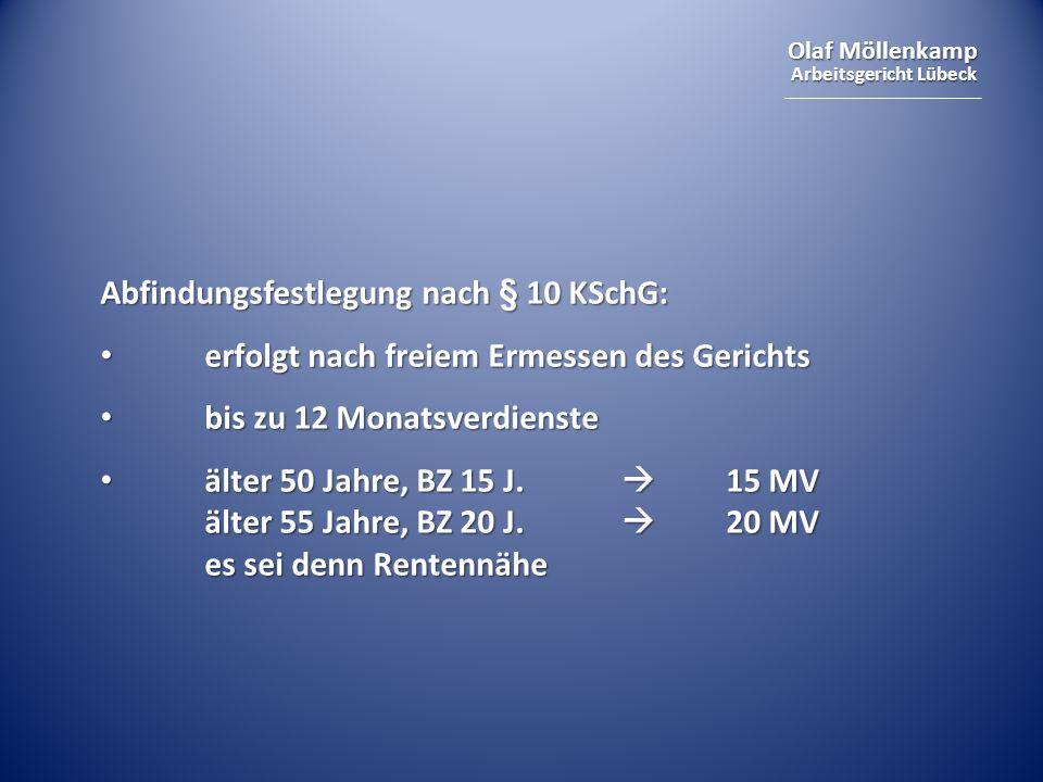 Abfindungsfestlegung nach § 10 KSchG: