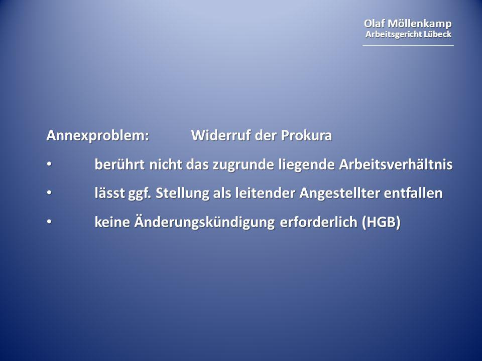 Annexproblem: Widerruf der Prokura