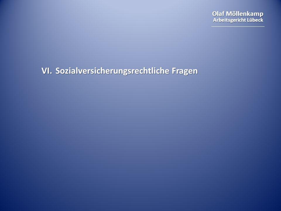VI. Sozialversicherungsrechtliche Fragen