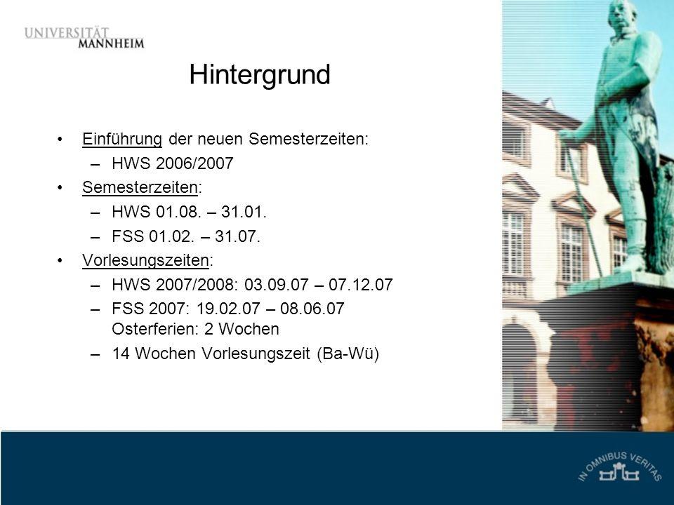 Hintergrund Einführung der neuen Semesterzeiten: HWS 2006/2007