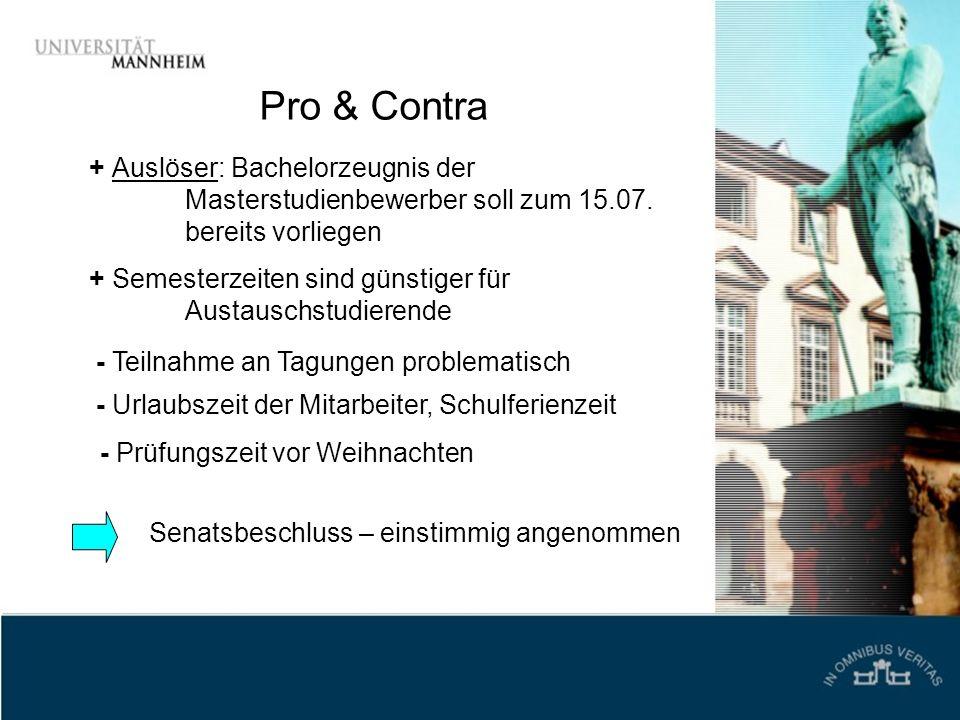 Pro & Contra + Auslöser: Bachelorzeugnis der Masterstudienbewerber soll zum 15.07. bereits vorliegen.