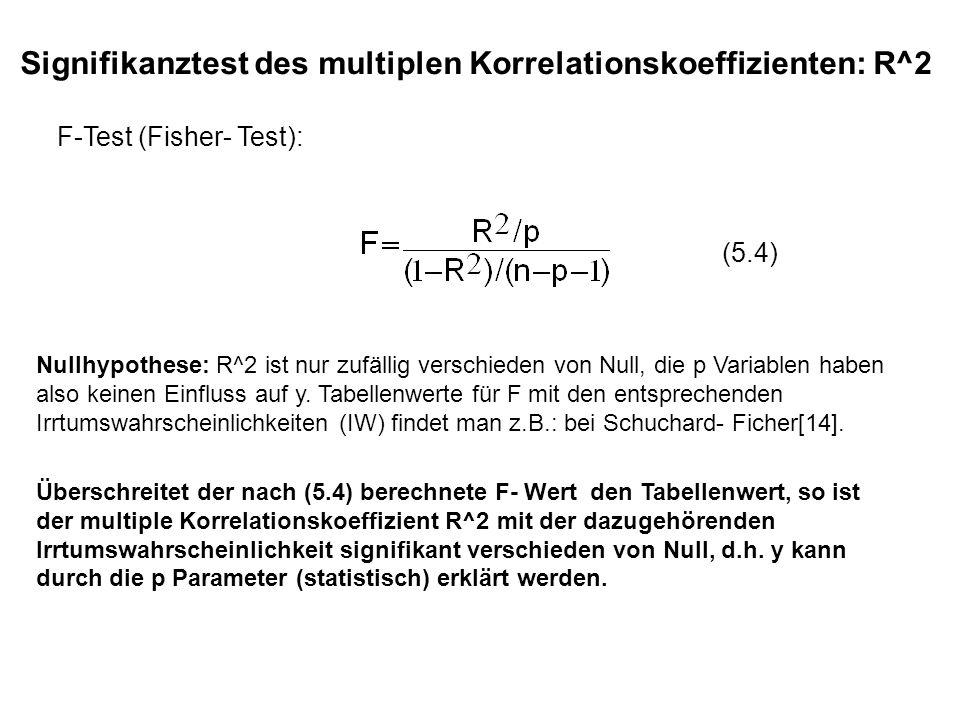 Signifikanztest des multiplen Korrelationskoeffizienten: R^2