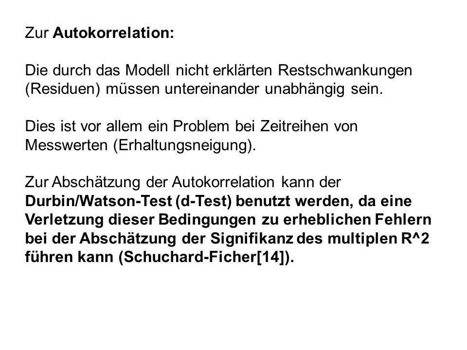 Zur Autokorrelation: Die durch das Modell nicht erklärten Restschwankungen (Residuen) müssen untereinander unabhängig sein.
