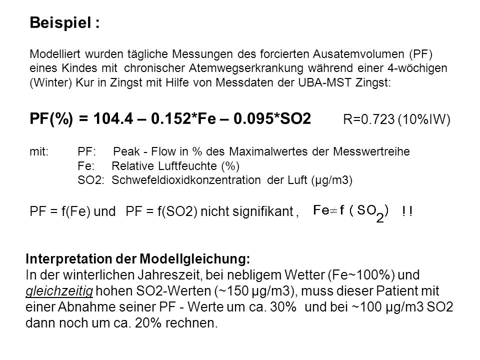 PF(%) = 104.4 – 0.152*Fe – 0.095*SO2 R=0.723 (10%IW)
