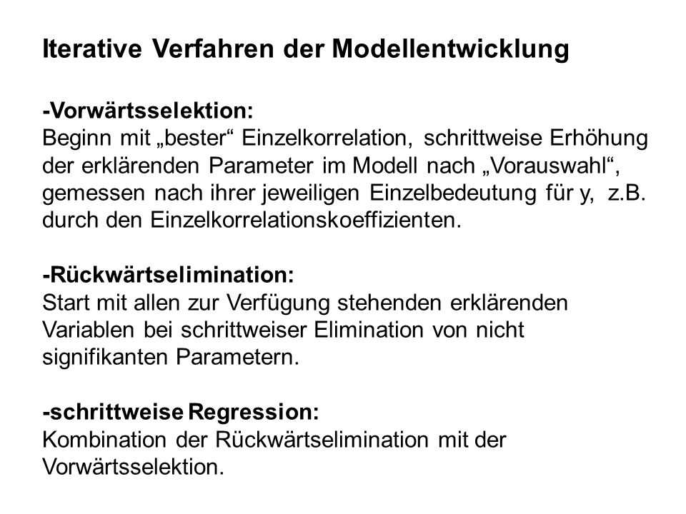 Iterative Verfahren der Modellentwicklung