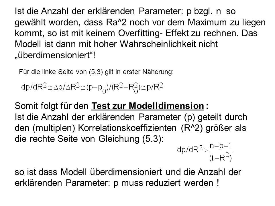 Somit folgt für den Test zur Modelldimension :