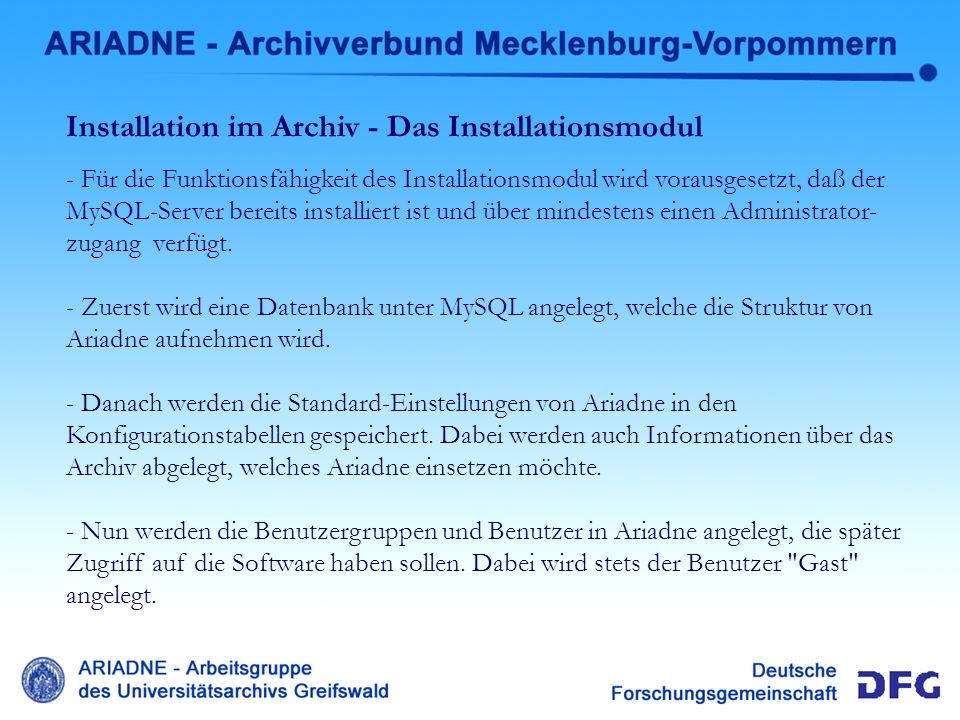 Lokale Installation Installation im Archiv - Das Installationsmodul