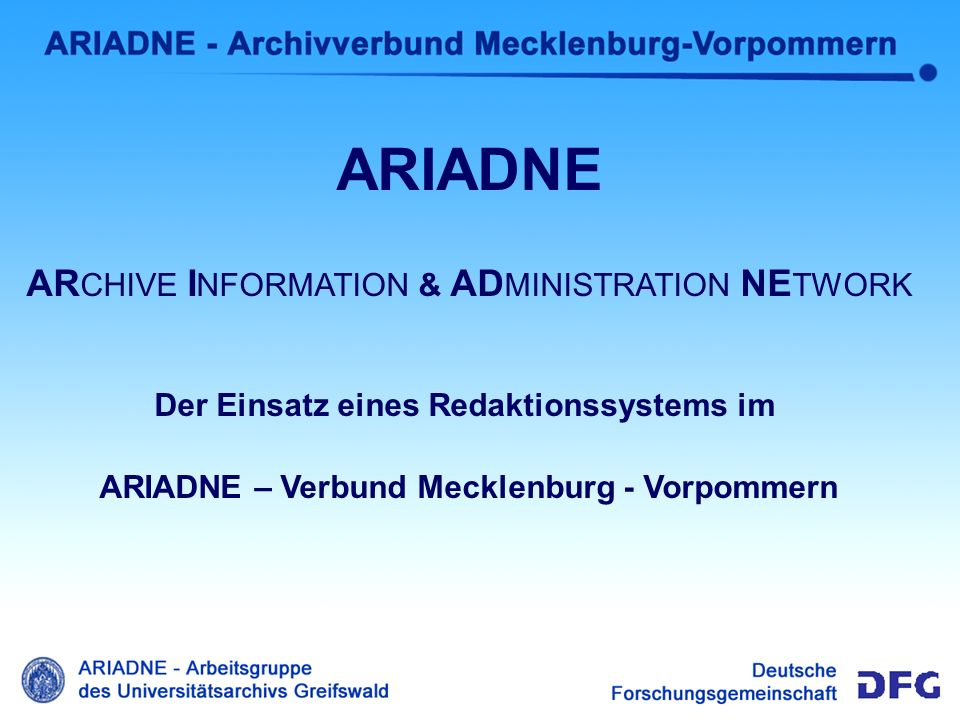 Intro MB ARIADNE ARCHIVE INFORMATION & ADMINISTRATION NETWORK