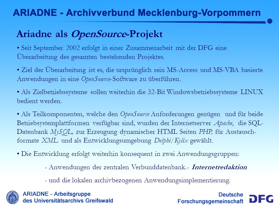 Ariadne als OpenSource-Projekt
