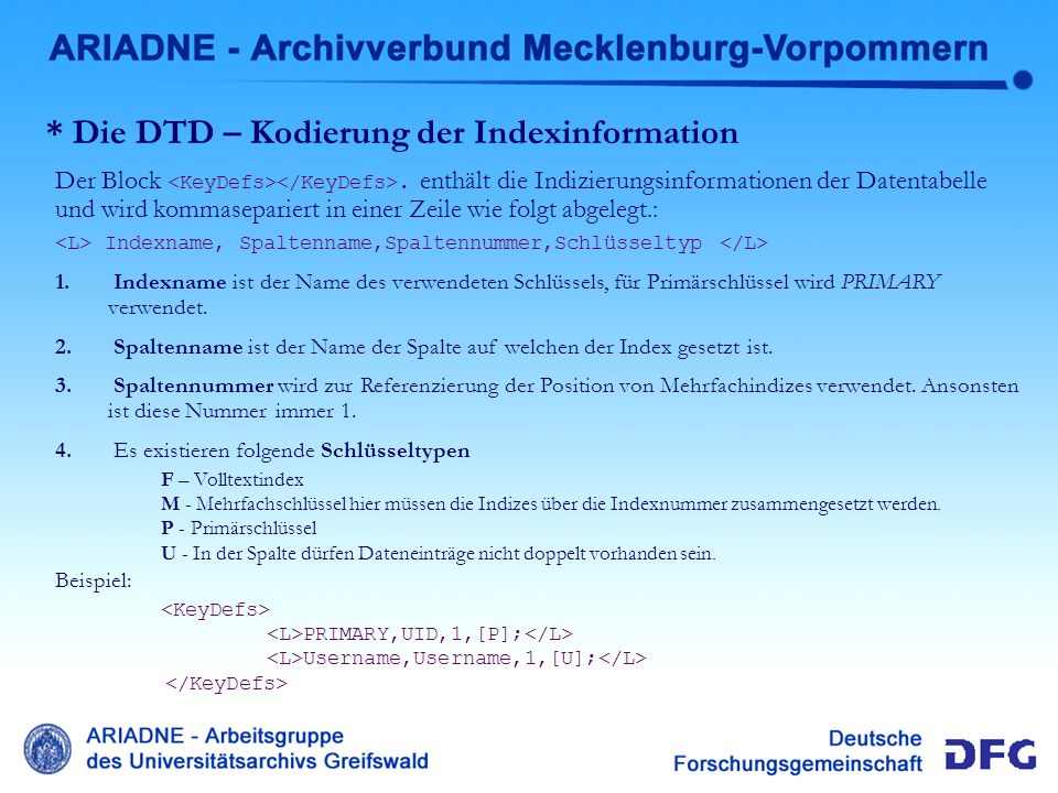 * Die DTD – Kodierung der Indexinformation