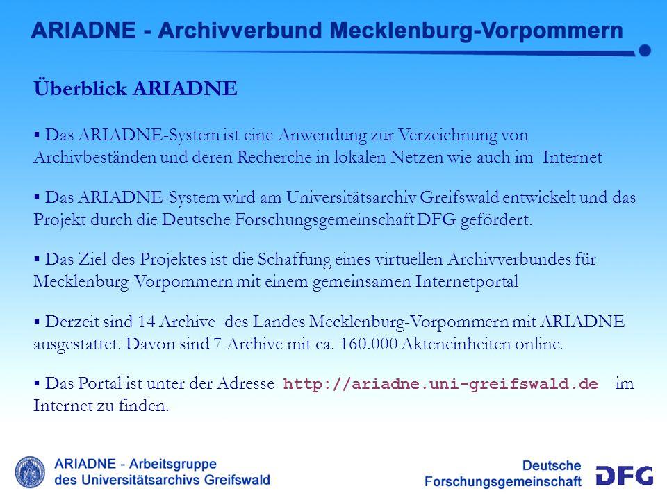 Ariadne Überblick Überblick ARIADNE
