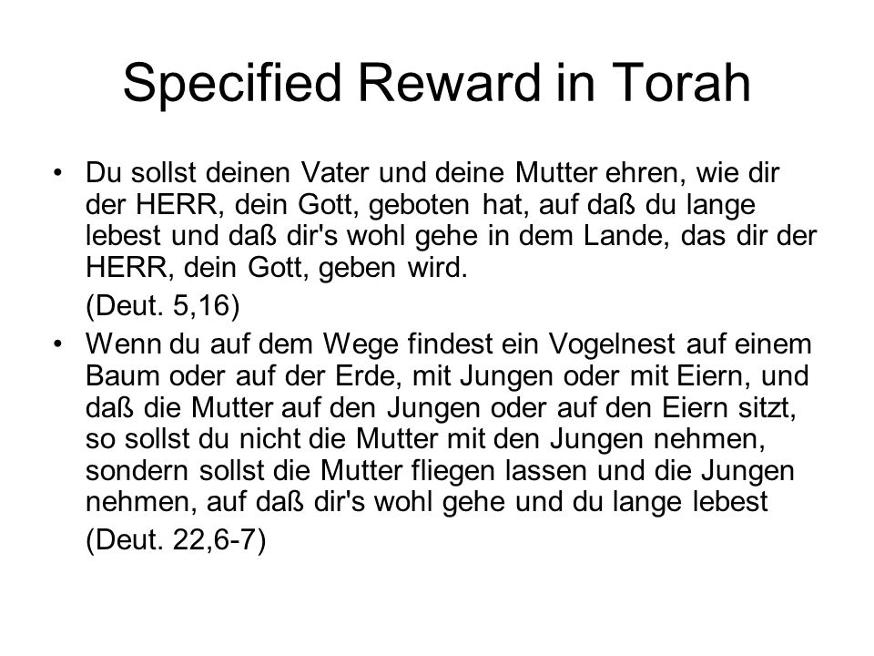 Specified Reward in Torah