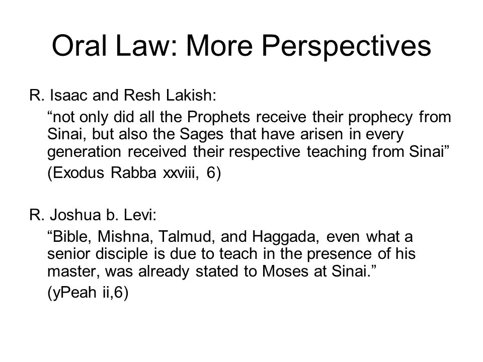 Oral Law: More Perspectives