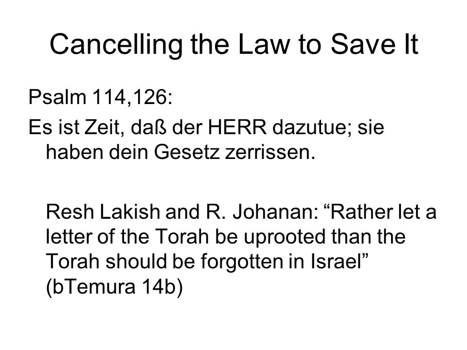 Cancelling the Law to Save It