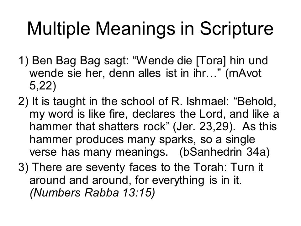 Multiple Meanings in Scripture