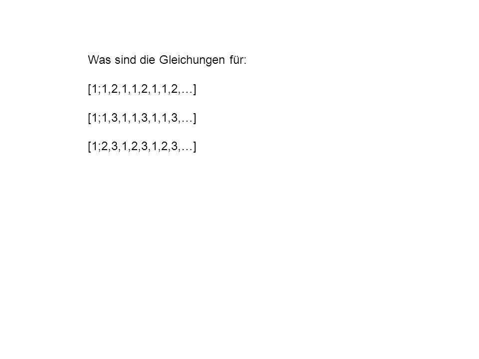 Was sind die Gleichungen für: