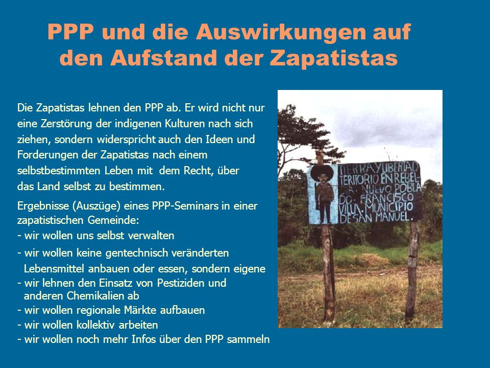 PPP und die Auswirkungen auf den Aufstand der Zapatistas