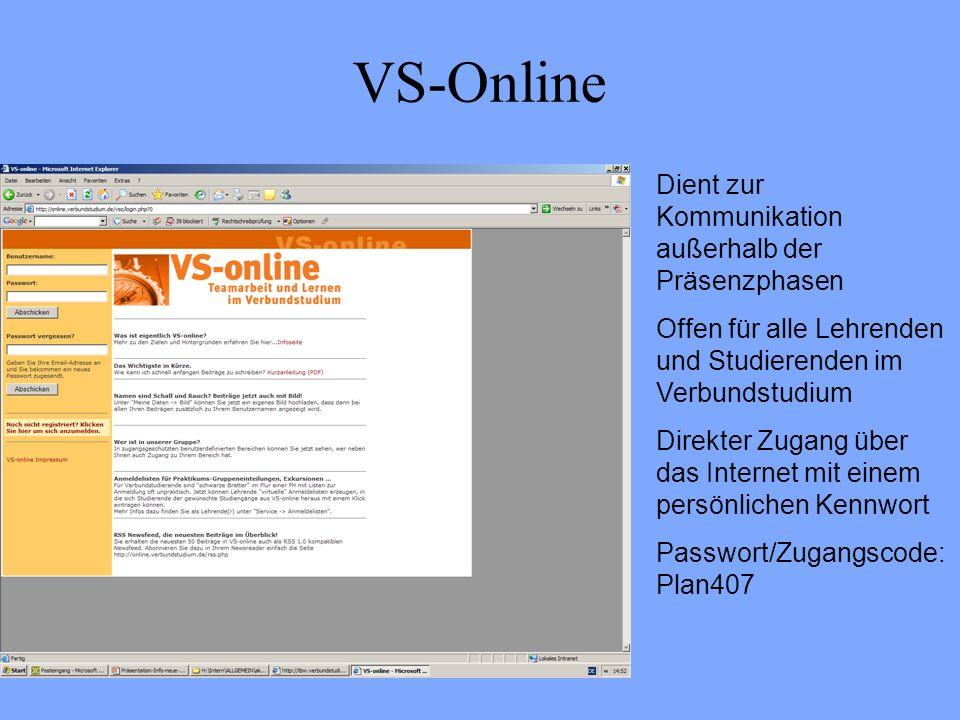 VS-Online Dient zur Kommunikation außerhalb der Präsenzphasen