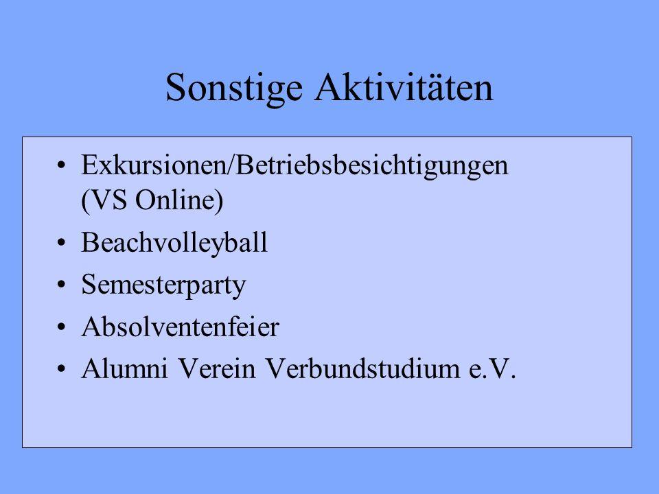 Sonstige Aktivitäten Exkursionen/Betriebsbesichtigungen (VS Online)