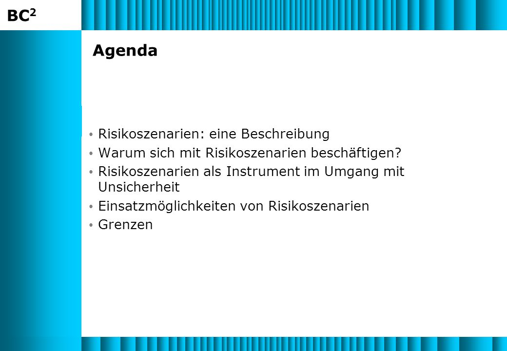Agenda Risikoszenarien: eine Beschreibung