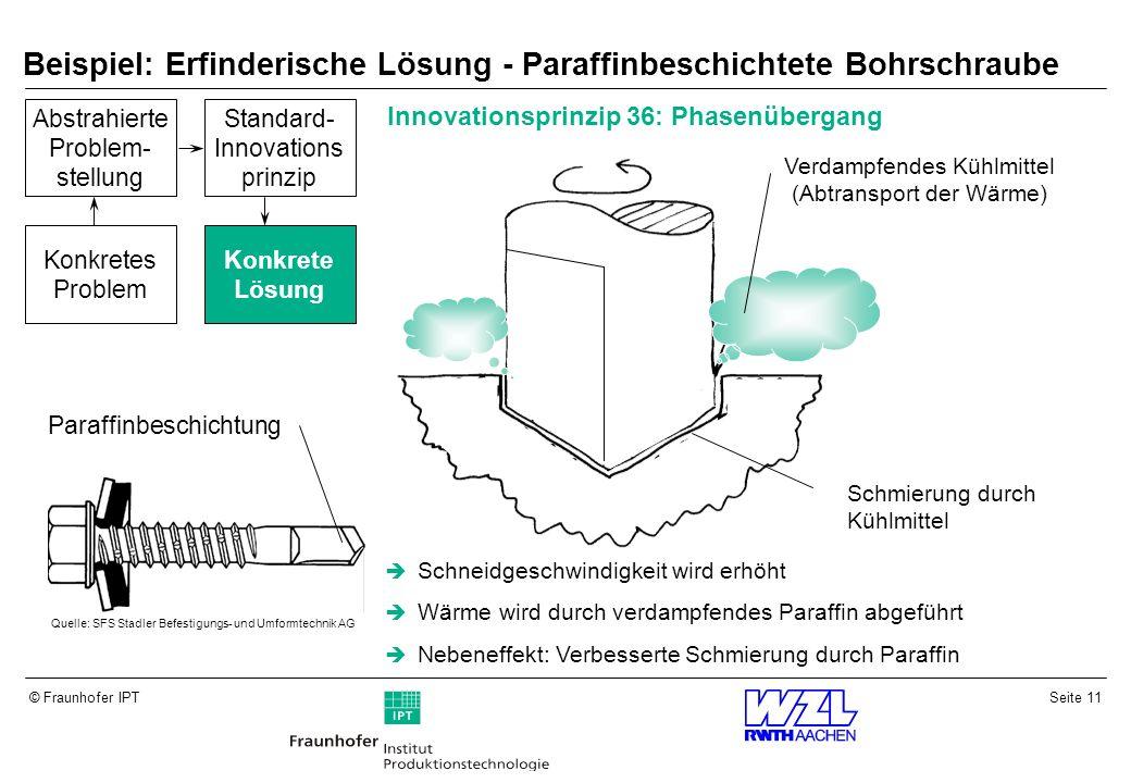 Beispiel: Erfinderische Lösung - Paraffinbeschichtete Bohrschraube
