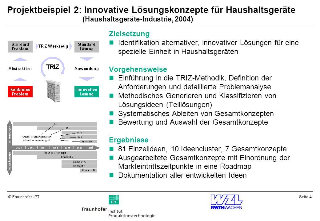 Projektbeispiel 2: Innovative Lösungskonzepte für Haushaltsgeräte (Haushaltsgeräte-Industrie, 2004)