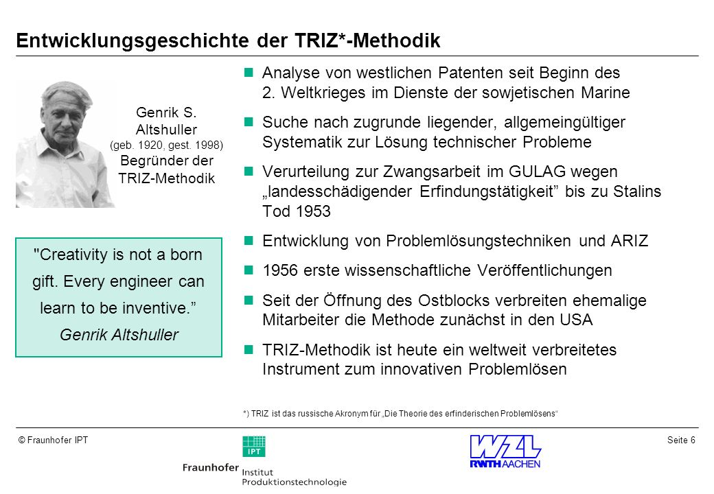 Entwicklungsgeschichte der TRIZ*-Methodik