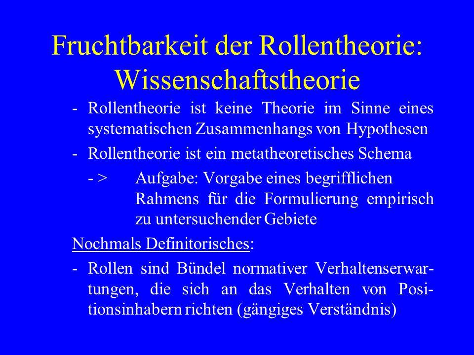 Fruchtbarkeit der Rollentheorie: Wissenschaftstheorie