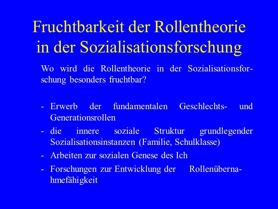 Fruchtbarkeit der Rollentheorie in der Sozialisationsforschung