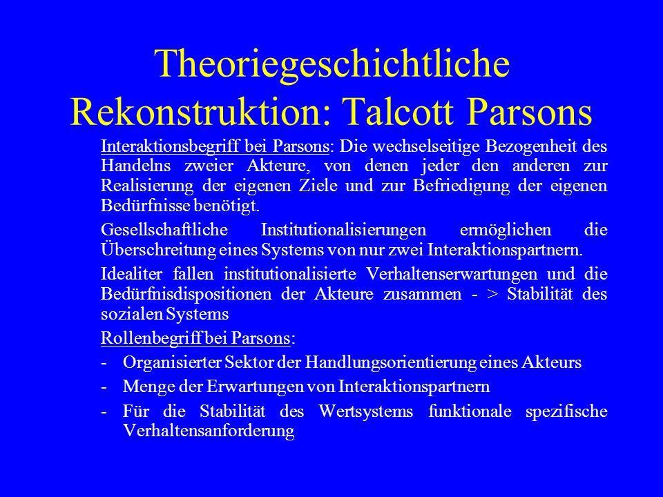 Theoriegeschichtliche Rekonstruktion: Talcott Parsons