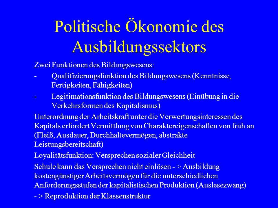 Politische Ökonomie des Ausbildungssektors