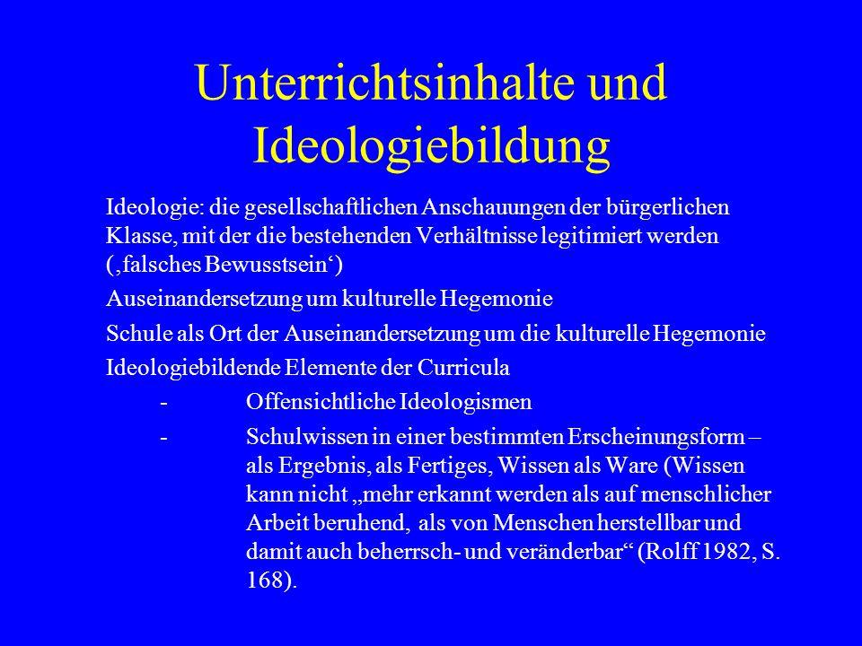 Unterrichtsinhalte und Ideologiebildung