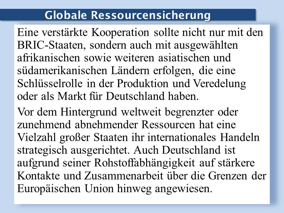 Globale Ressourcensicherung