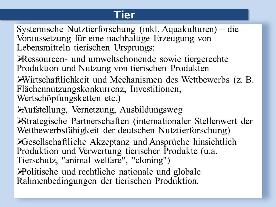 TierSystemische Nutztierforschung (inkl. Aquakulturen) – die Voraussetzung für eine nachhaltige Erzeugung von Lebensmitteln tierischen Ursprungs: