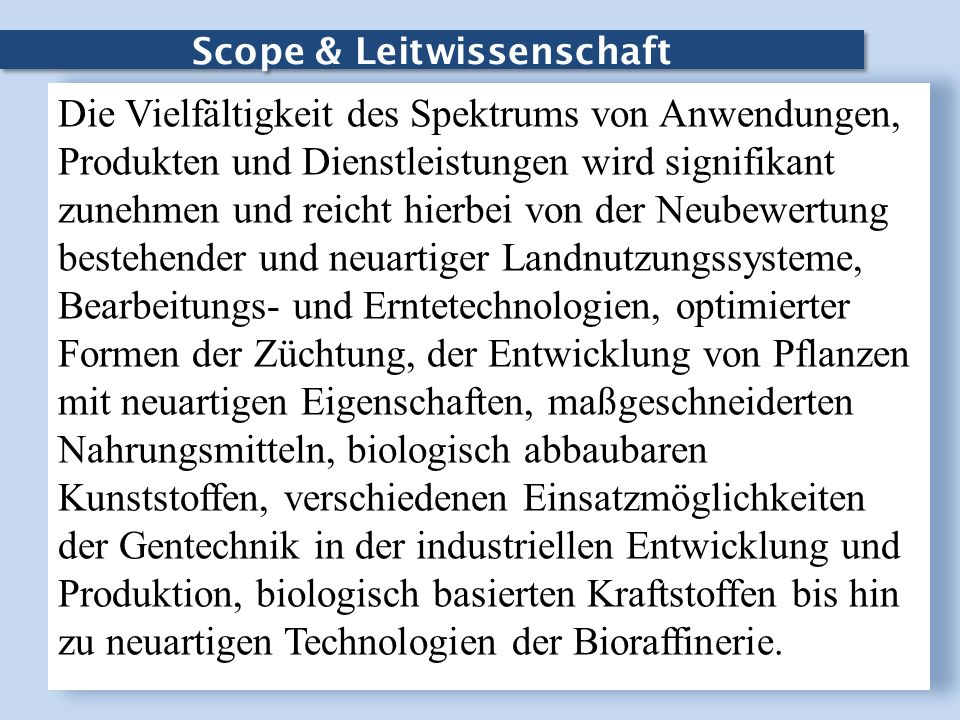 Scope & Leitwissenschaft