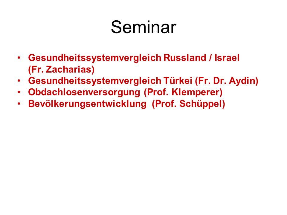 Seminar Gesundheitssystemvergleich Russland / Israel (Fr. Zacharias)