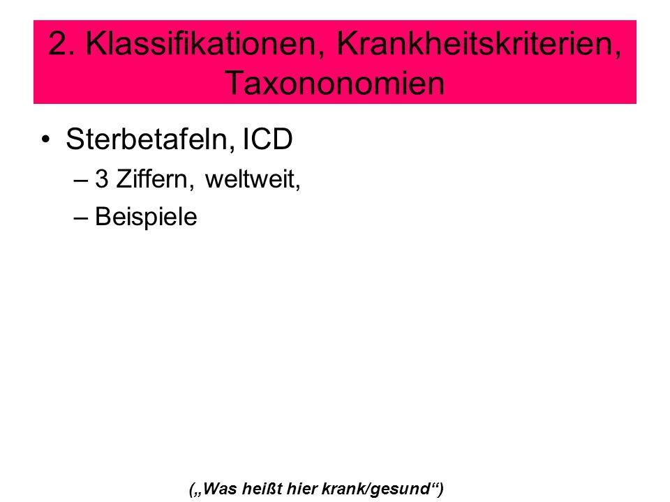 2. Klassifikationen, Krankheitskriterien, Taxononomien