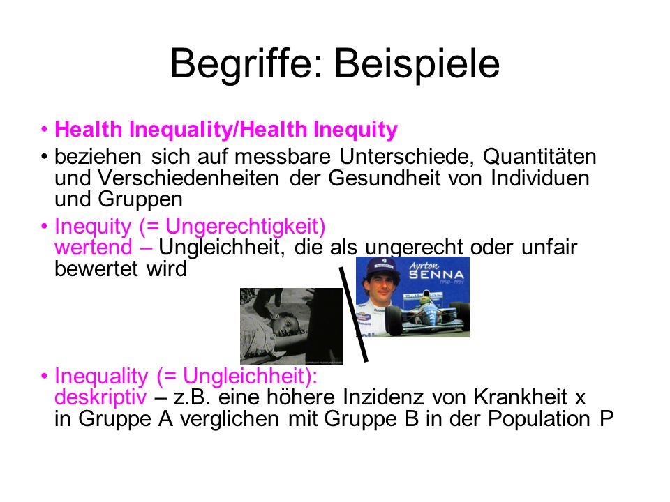 Begriffe: Beispiele Health Inequality/Health Inequity