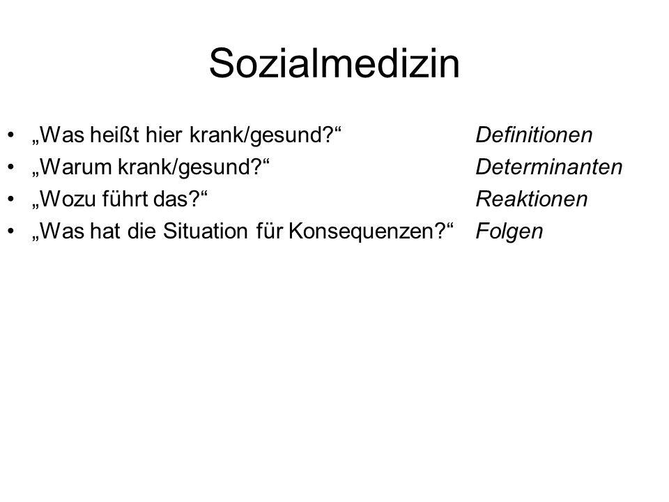 """Sozialmedizin """"Was heißt hier krank/gesund Definitionen"""